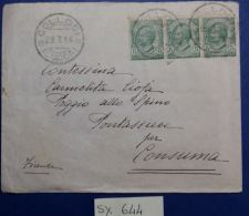 LETTERA VIAGGIATA 1914 CON 3 DA 5 CENT. TIMBRO COLLODI (SX644 - 1900-44 Victor Emmanuel III.