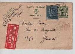 Entier CP 35 C+TP 430 Poortman En Exprès C.C.F.Gosselies 2/9/1937 V.Gand 1088 - Enteros Postales