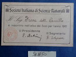 SOCIETA' ITALIANA SCIENZE NATURALI -SOCIO 1910 (SX1150 - Documenti Storici