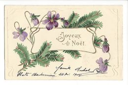18243 - Joyeux Noël Violettes Et Branche De Sapin Carte En Relief - Natale
