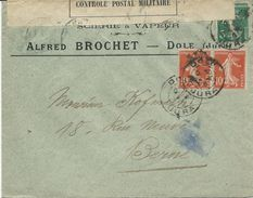 LOT DE 5 LETTRE 1915/17 POUR LA SUISSE AVEC TIMBRES TYPE SEMEUSE ET BANDES ET CACHETS DE CENSURE - Marcophilie (Lettres)