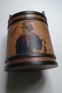 Pot à Tabac Pyrogravure Peinte - Boites à Tabac Vides