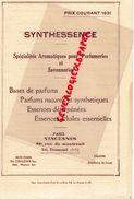 94- VINCENNES-PARIS-GRASSE-NEW YORK-CATALOGUE PRIX 1931-SYNTHESSENCE-PARFUM-PARFUMERIE-SAVON-SAVONNERIE-ESSENCES - Chemist's (drugstore) & Perfumery