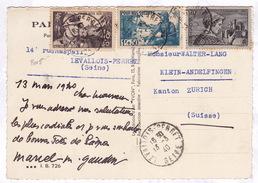 2018# POUR NOS SOLDATS INFANTERIE / CARTE POSTALE Obl LEVALLOIS PERRET SEINE 1940 Pour KLEIN ANDELFINGEN ZURICH SUISSE - 1921-1960: Modern Period