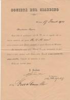 DOCUMENTO 1902 AMMISSIONE SOCIO SOCIETA' DEL GIARDINO (SY87 - Timbri Generalità