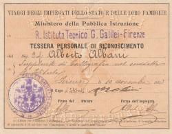 TESSERA DI RICONOSCIMENTO 1923 PROFESSORE (PIEGA CENTRALE) (SY99 - Timbri Generalità