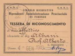 TESSERA 1949 CIRCOLO DIPENDENTI AMMISTRAZIONE PROV.LE (SY108 - Timbri Generalità