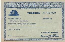 TESSERA 1970 ASSOCIAZIONE NAZIONALE COMBATTENTI E REDUCI (SY109 - Timbri Generalità