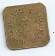 MONNAIE DE NECESSITE GRASSE Fourneaux Economiques St Vincent De Paul 5 CENT Laiton 25mm Sur 25mm - Monnaies