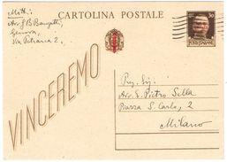 L106) R.S.I. CARTOLINA POSTALE 30 C. VINCEREMO SOVRASTAMPATA VIAGGIATA - 4. 1944-45 Repubblica Sociale