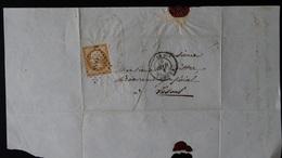 France - Lettre Enveloppe - PC3546 Sur 10c Brun Clair Napoléon III Non Dentelé  Empire Franc YT N° 13  - Année 186x - 1849-1876: Classic Period