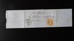 France - Lettre Enveloppe - PC1803 Sur 10c Brun Clair Napoléon III Non Dentelé  Empire Franc YT N° 13  - Année 186x - 1849-1876: Classic Period