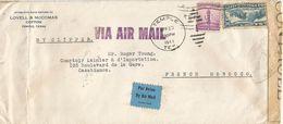 Maroc Morocco 1941 Temple USA To Casablanca Via Madrid Larache Censored YB604 Rabat Clipper Airmail Cover - Brieven En Documenten