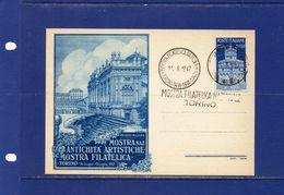 """##(YEL)-Italia 14-6-1947- Torino - Annullo  """" Mostra Filatelica Nazionale """" Su  Cartolina Manifestazione - 6. 1946-.. Repubblica"""