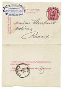 1891 CARTE-LETTRE  VAN TOURNAI NAAR RENAIX MET FIRMASTEMPEL ZIE SCAN(S) - Stamped Stationery