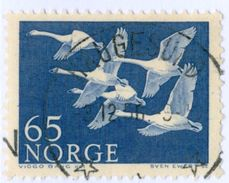NORVEGIA, NORWAY, FAUNA, UCCELLI, BIRDS, CIGNI, SWANS, 1956, FRANCOBOLLI USATI Yvert Tellier 371… Scott 353 - Norvegia