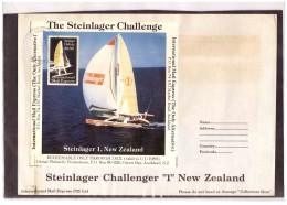 "AU190   -   INTERNATIONAL MAIL EXPRESS  $ 3,50   MINIATURE STAMP SHEET    /   COVER  "" STEINLAGER CHALLENGER -1- NEW ZEA - Errors, Freaks & Oddities (EFO)"