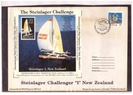 "AU192   -   INTERNATIONAL MAIL EXPRESS  $ 3,50   MINIATURE STAMP SHEET    /   COVER  "" STEINLAGER CHALLENGER -1- NEW ZEA - Errors, Freaks & Oddities (EFO)"
