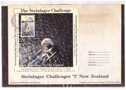 "AU194   -   INTERNATIONAL MAIL EXPRESS  $ 3,50   MINIATURE STAMP SHEET    /   COVER  "" STEINLAGER CHALLENGER -1- NEW ZEA - Errors, Freaks & Oddities (EFO)"