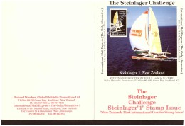 """AU195 - INTERNATIONAL MAIL EXPRESS  $ 3,50   MINIATURE STAMP SHEET/ CARDBOARD  """" STEINLAGER CHALLENGER -1- NEW ZEA - Errors, Freaks & Oddities (EFO)"""