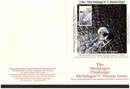 """AU196 - INTERNATIONAL MAIL EXPRESS  $ 3,50   MINIATURE STAMP SHEET/ CARDBOARD  """" STEINLAGER CHALLENGER -1- NEW ZEA - Errors, Freaks & Oddities (EFO)"""