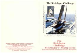 """AU197 - INTERNATIONAL MAIL EXPRESS  $ 3,50   MINIATURE STAMP SHEET/ CARDBOARD  """" STEINLAGER CHALLENGER -1- NEW ZEA - Errors, Freaks & Oddities (EFO)"""