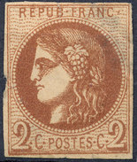 Stamp France  1870 2c Imperf - 1870 Emisión De Bordeaux