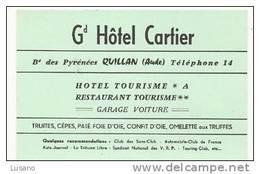 Carte De Visite - Grand Hôtel Carlier - Quillan (Aude) - France - Etiquetas De Hotel