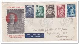 Nederland 1951, FDC E6 Verzonden Per Luchtpost Naar Indonesië - FDC