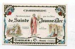 Etiquette Vin De Champagne Maison Giesler Avize Sainte Jeanne D'Arc  A  VOIR !!! - Publicidad