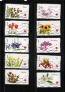 """FRANCE   AUTOADHESIFS     N°   989 à 998   Obl.    Série Complète     """" CROIX ROUGE    """"   (2014) - Adhesive Stamps"""
