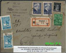 TURKEY , EARLY OTTOMAN SPECIALIZED FOR SPECIALIST, SEE....Brief Von Stamboul Nach Besitas - Mit Zensurstreifen -R- - 1921-... Republic