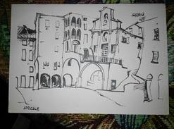 """Apricale (Imperia) Antico Borgo Medioevale """"La Piazza"""" Del Pittore Lamberto Garbini Viaggiata 1966 - Imperia"""