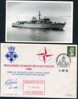 1988 GB H.M.S. Berwick, Royal Navy Ship Cover + Photocard. Rosyth Navy Days SIGNED, NATO Edinburgh - Covers & Documents