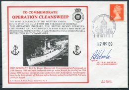 1989 GB H.M.S. Berkeley, Royal Navy Ship Cover. Operation Cleansweep SIGNED, Edinburgh - 1952-.... (Elizabeth II)