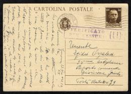 ITALIA REGNO - 23.IV.41 - CARTOLINA POSTALE DA LIVORNO - POSTA MILITARE 79 - VERIFICATO PER CENSURA - IMPERIALE 30 CENT. - Entero Postal