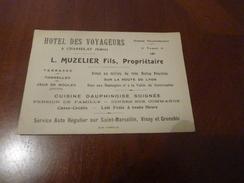 CARTON PUBLICITE CARTE DE VISITE HOTEL DES VOYAGEURS  A CHASSELAY ISERE L. MUSELIER FILS PROPRIETAIRE - Publicidad