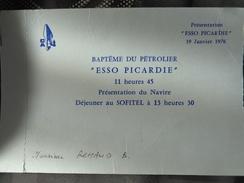 INVITATION BAPTEME DU PETROLIER ESSO PICARDIE 19 JANVIER 1976 - Vieux Papiers
