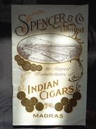 LIVRET FABRICATION DE CIGARES INDIAN CIGARS MADRAS  SPENCER ET CO 16 PAGES - Documents