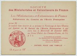 Sté Des Miniaturistes Et Enlumineurs De Paris . Invitation Au 4e Salon De L'Ecole Française 1907 . Luc-Olivier Merson . - Announcements