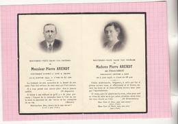 AVIS DE DECES - Carte Double Mr Pierre ARENDT Décédé à Peltre (Moselle) Et Mme ARENDT Née Félicie SIBERT - Todesanzeige