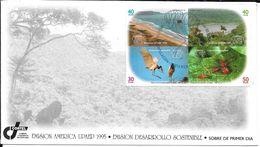 COSTA RICA EMISION AMERICA UPAEP AÑO 1995 EMISION DESARROLLO SOSTENIBLE FDC SOBRE TRES BON ETAT - Costa Rica