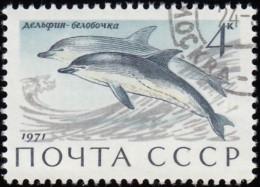 RUSSIA - Scott #3882 Delphinus Delphis / Used Stamp - 1923-1991 URSS