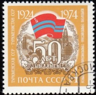 RUSSIA - Scott #4240 Turkmenistan SSR, Soviet Republic 50th Anniv. / Used Stamp - 1923-1991 URSS