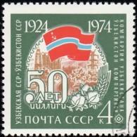 RUSSIA - Scott #4241 Uzbekistan SSR, Soviet Republic 50th Anniv. / Used Stamp - 1923-1991 URSS