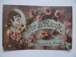 89 Un BONJOUR De NAILLY Fantaisie Fleur Roses DIX 486 - Autres Communes
