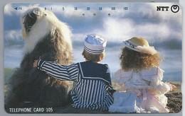JP.- Japan, Telefoonkaart. Telecarte Japon. NTT. TELEPHONE CARD 105. KINDEREN. HOND. CHILDREN DOG. - Personen
