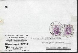 ! - Belgique - Carte Imprimée  De Fabrique D'Asphalte Dieudonné PETIT- Avec Timbre COB - OBP - 2v 281 - De 1931 - Belgique