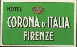 Etiquette D'hôtel : Hôtel Corona D'Italia - Firenze - Florence - Italie - Hotel Labels