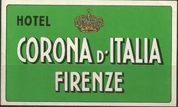 Etiquette D'hôtel : Hôtel Corona D'Italia - Firenze - Florence - Italie - Etiketten Van Hotels